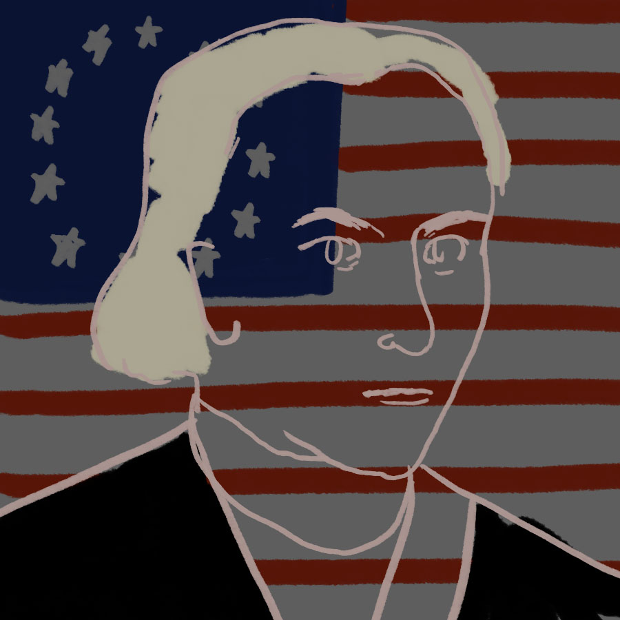 transparent portrait of Patrick Henry superimposed on an American flag