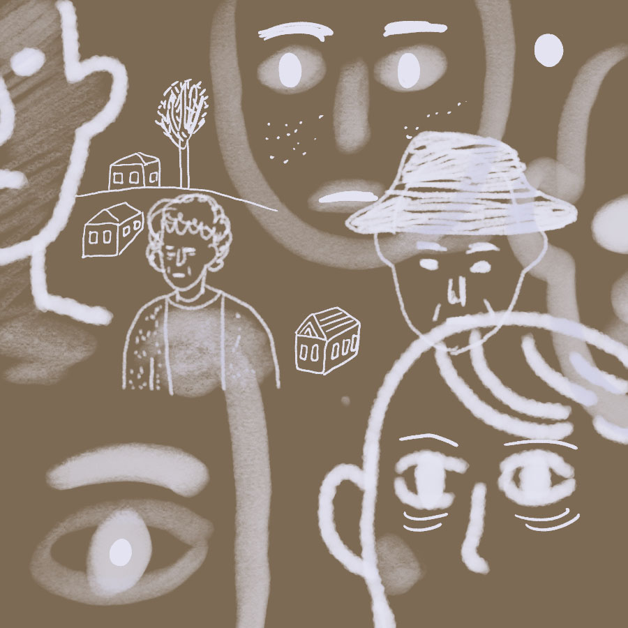 abstract illustration of many different faces and settings that reflect the diversity of speakers in the Spoon River Anthology
