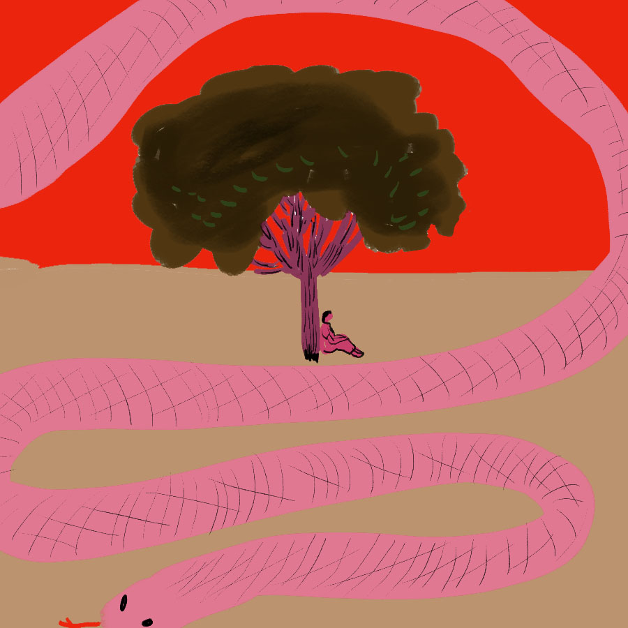 illustration of a person sitting under tree with a large snake winding its way across the ground and sky