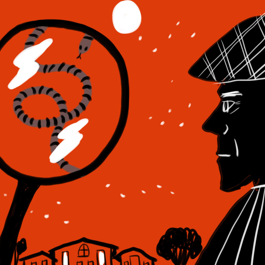 illustration of Sherlock Holmes in profile looking across a cityscape with a magnifying glass in the distance and a speckled band visible through the glass
