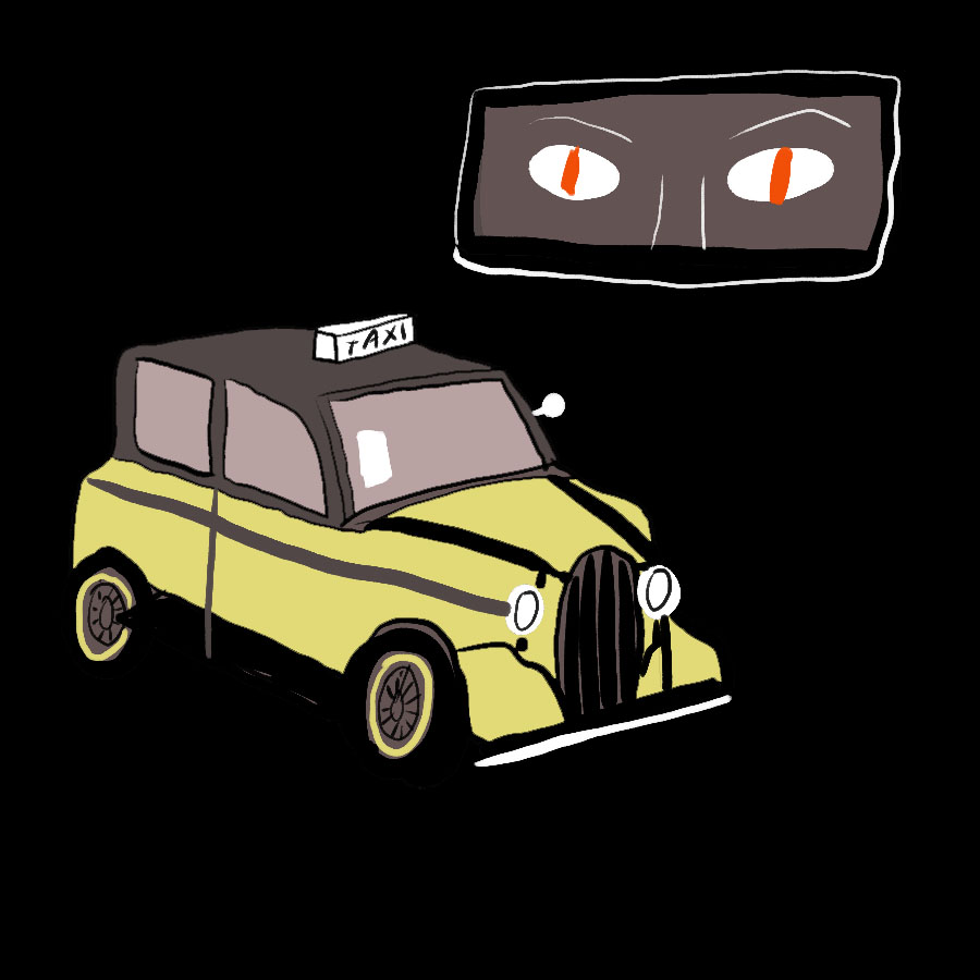 abstract illustration of a taxi cab with a rear view mirror above it with glaring, red eyes staring through the mirror