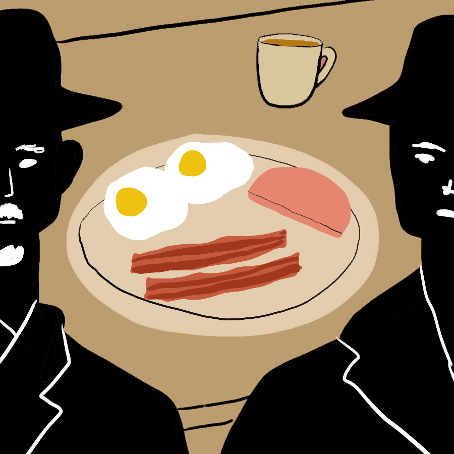 Breakfast illustration of bacon, eggs, and coffee with the silhouetted images of the Duchess' evil brothers, one on each side