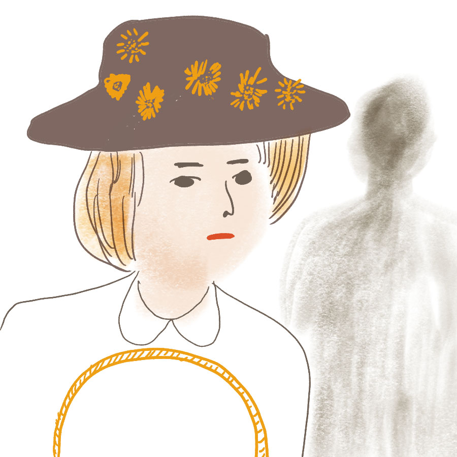 illustration of Laura wearing her mothers hat and holding a basket with a shadowy figure behind her