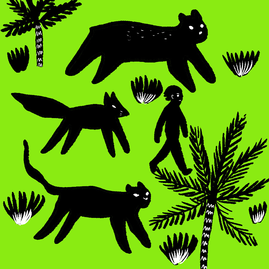abstract illustration of Mowgli walking through the jungle with Bagheera, Gray Brother, and Baloo