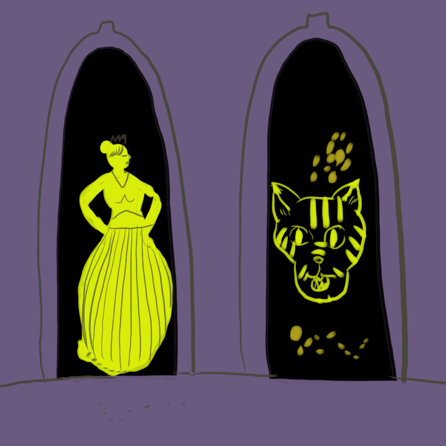two doorways with an elegant woman standing in one and a large tiger head in the other