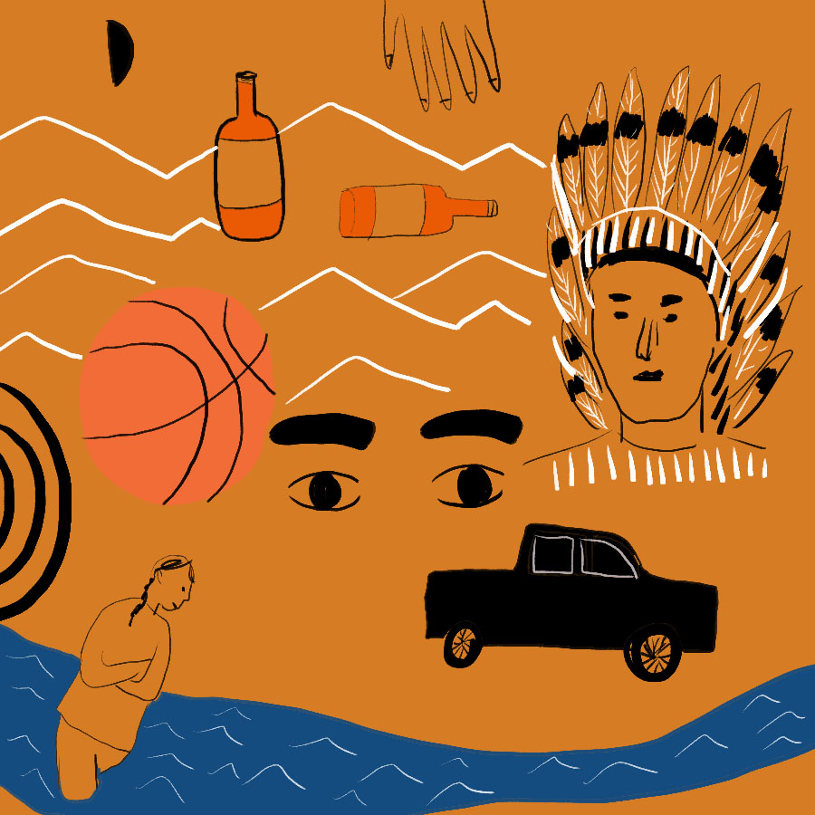 abstract illustration of several people and items: a woman wading through a river, a Native American man in traditional headdress, bottles of alcohol, a sedan, a basketball, and a pair of eyes