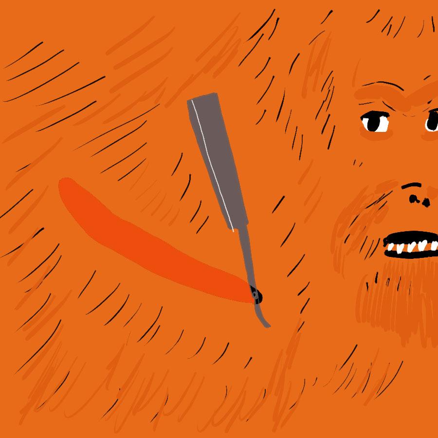 orangutan holding a shaving razor