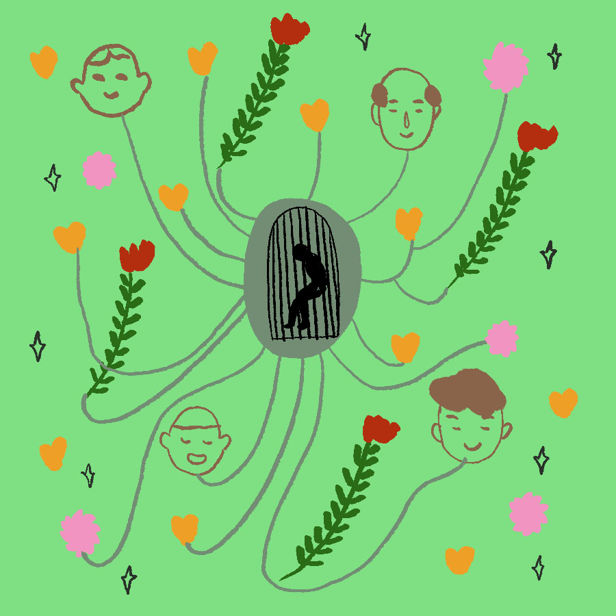 illustration of a young boy in a cage in the center with lines connecting the boys cage to images of happy people and flowers