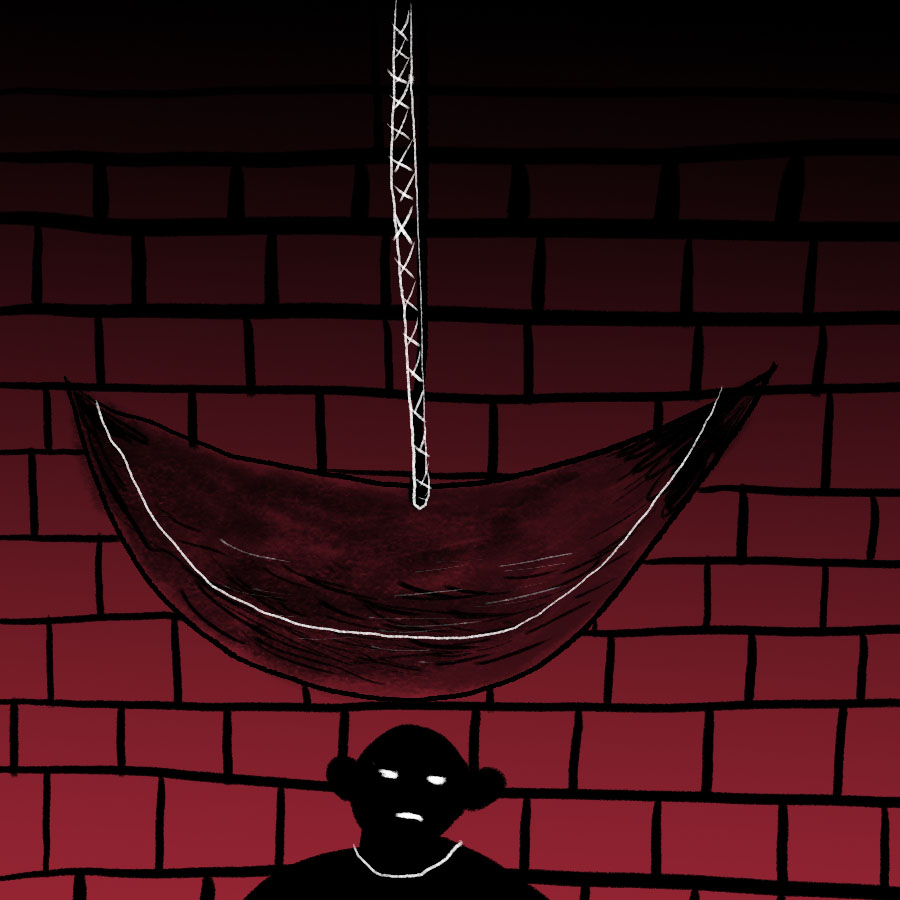 illustration of a blade on the end of a pendulum swinging above a man's head