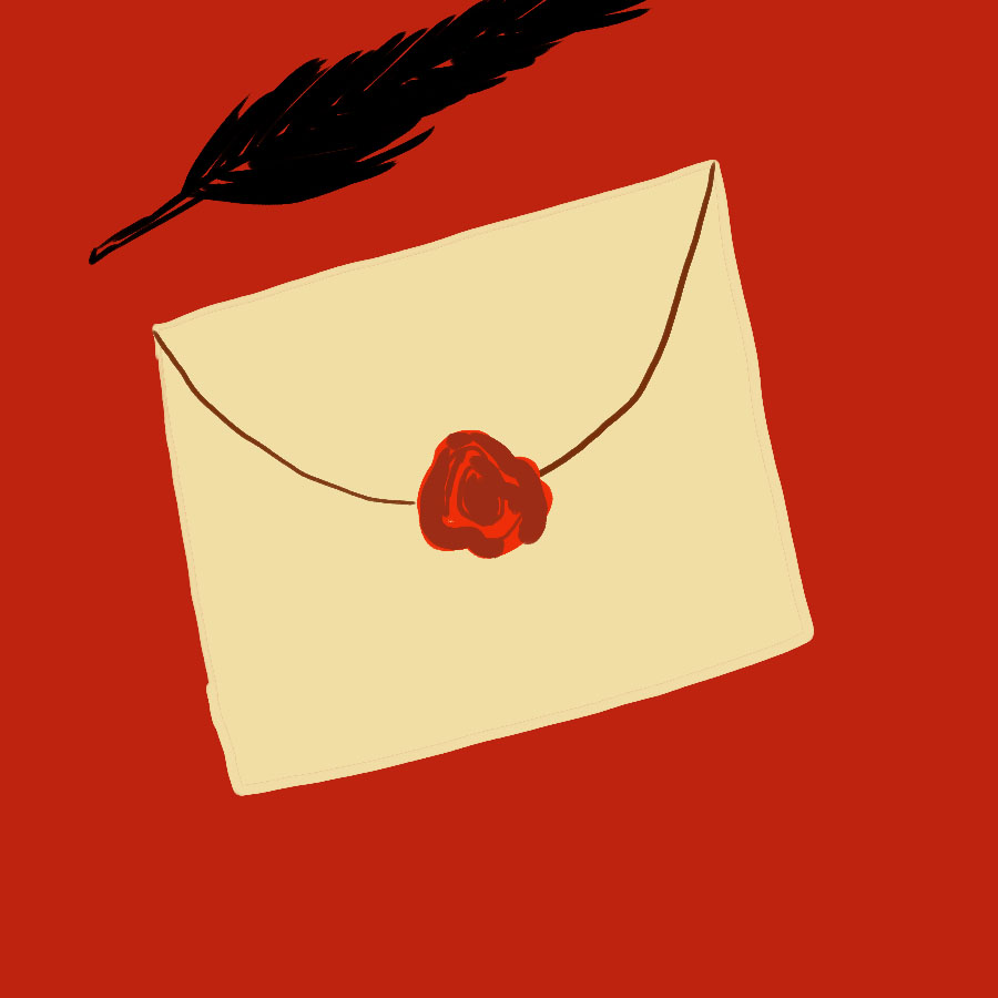 illustration of a wax-sealed envelope with a quill resting beside it