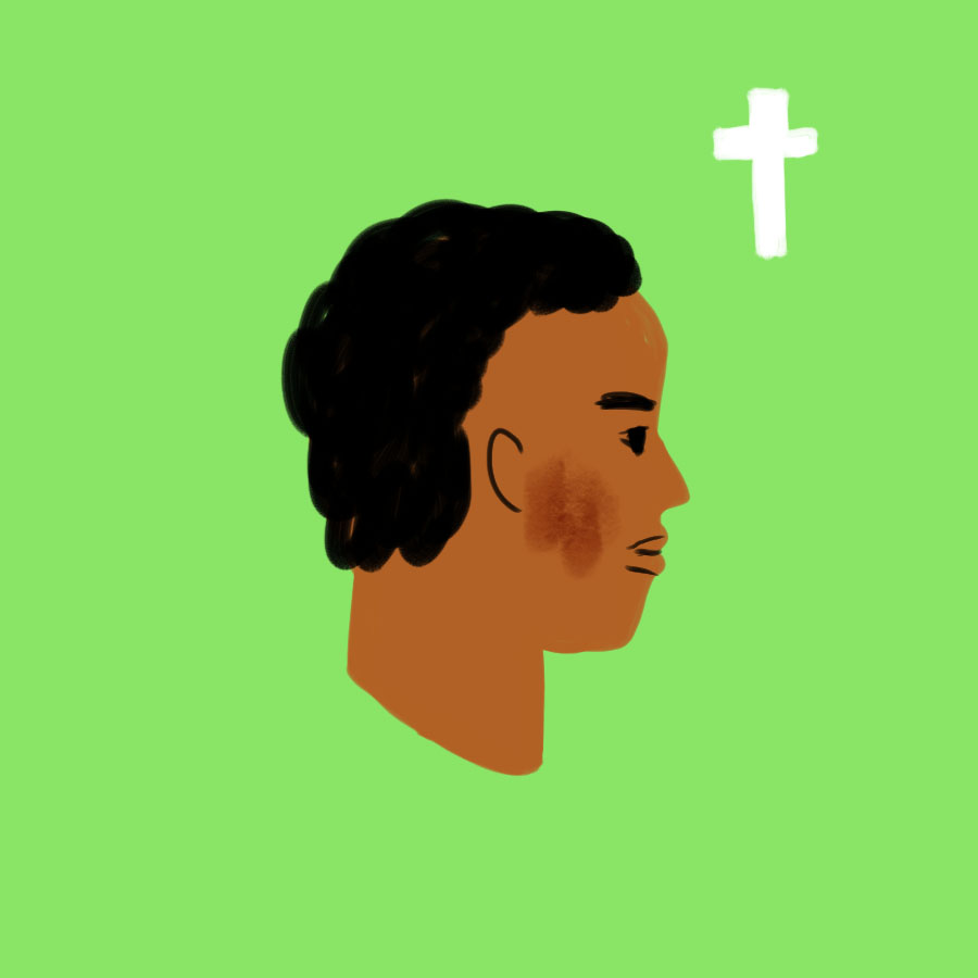 illustration of profile of The River Between's main character Waiyaki looking at a Christian cross