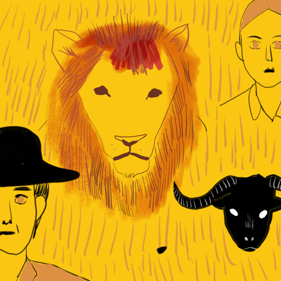 illustration of four faces: a man with a hat, a lion, a woman, and a goat