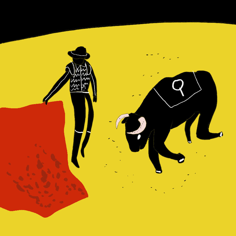 Illustration of a bull and a bullfighter