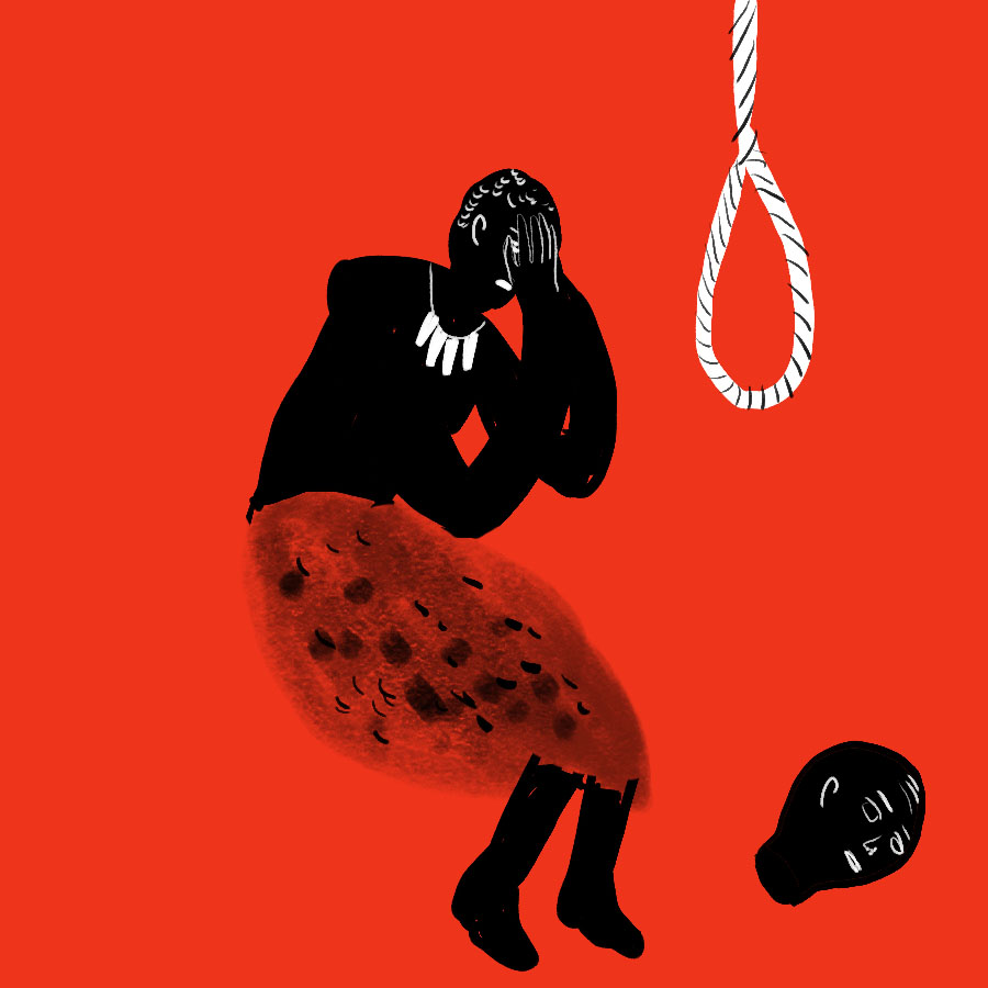 Illustration of a person holding their head next to a noose and a detached head