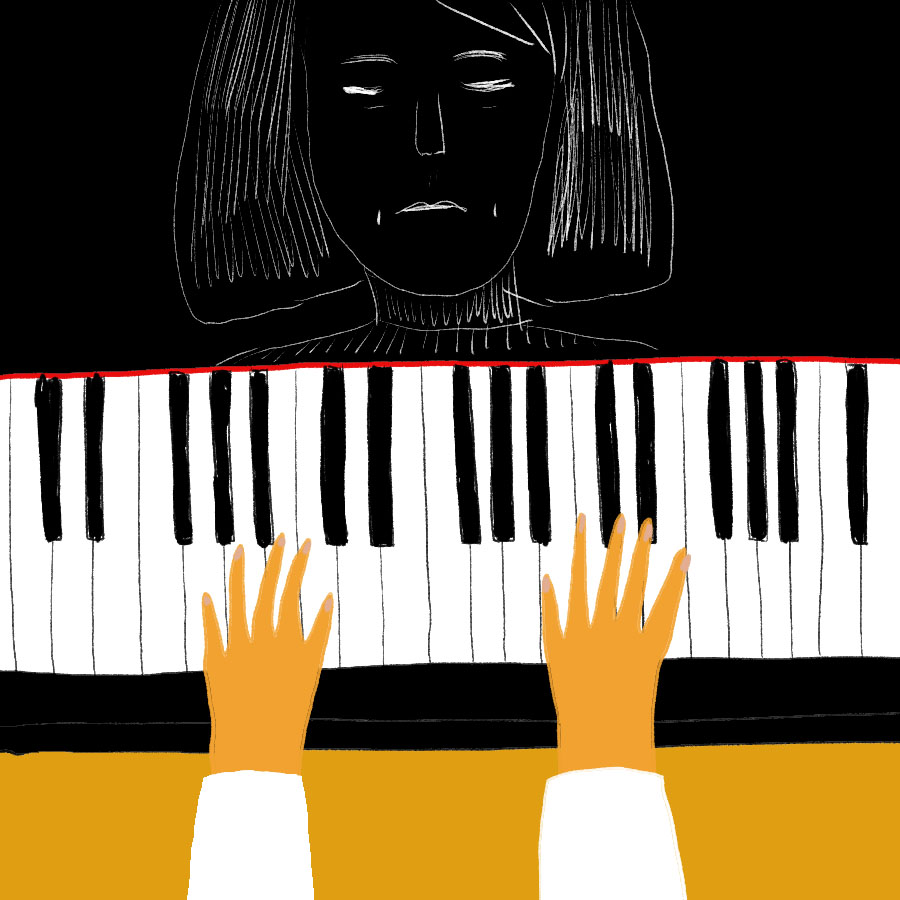 illustration of main character Jing-mei playing the piano with her face reflected in the piano revealing how unhappy she is