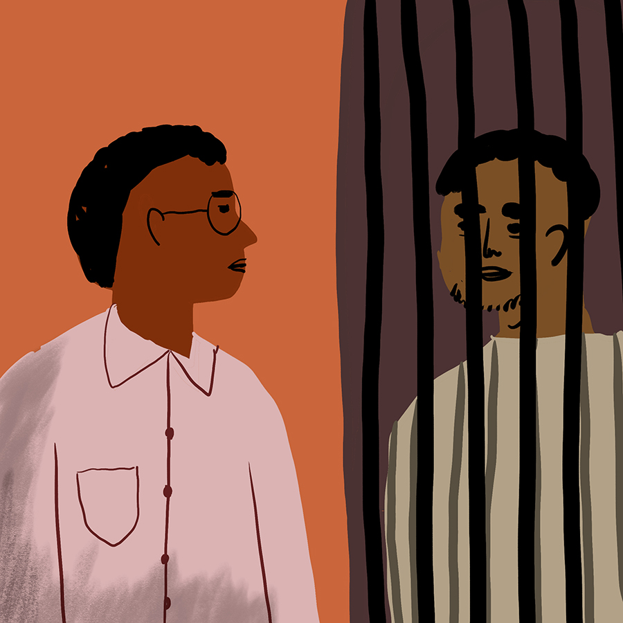 Illustration of a man visiting another man in jail