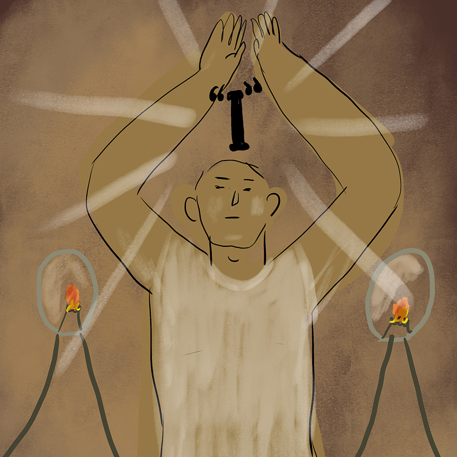 "illustration of a person flanked by candles and holding his arms in the air where a letter ""I"" floats"