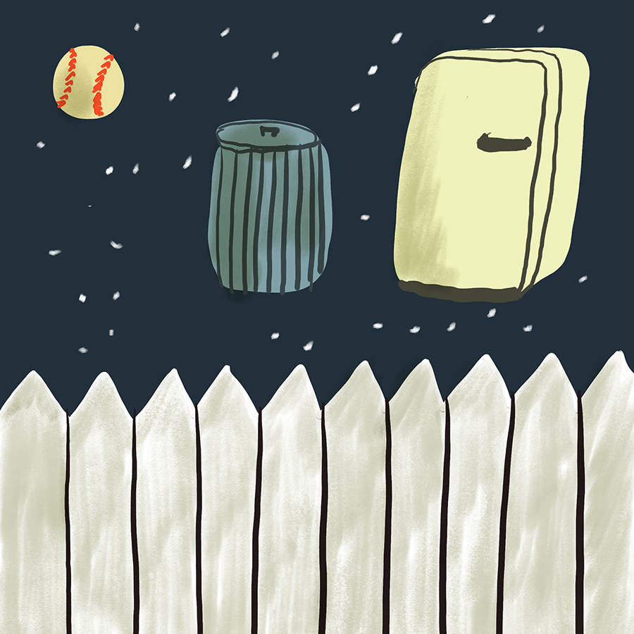 Symbolic illustration of a baseball, garbage can, and refrigerator hovering over a while picket fence