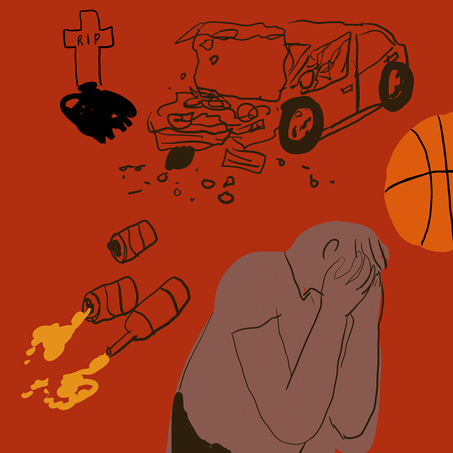 illustration of a car crash, a grave, empty liquor bottles, a basketball, and a young man crying