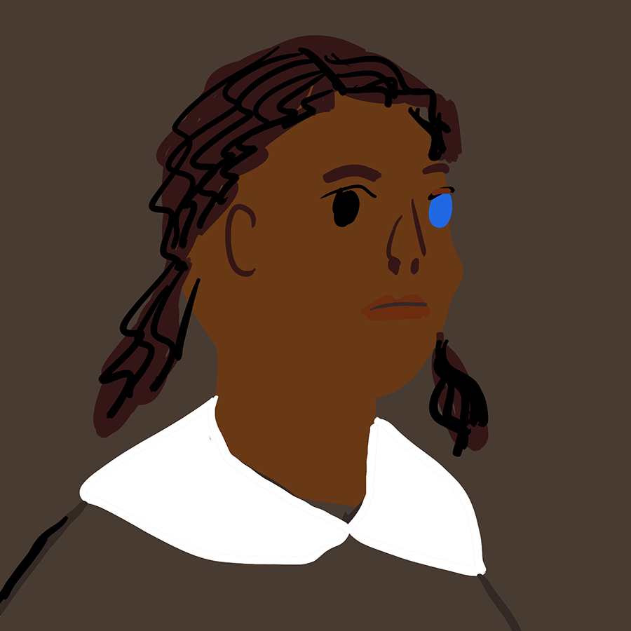 Illustration of a girl with one brown eye and one blue eye