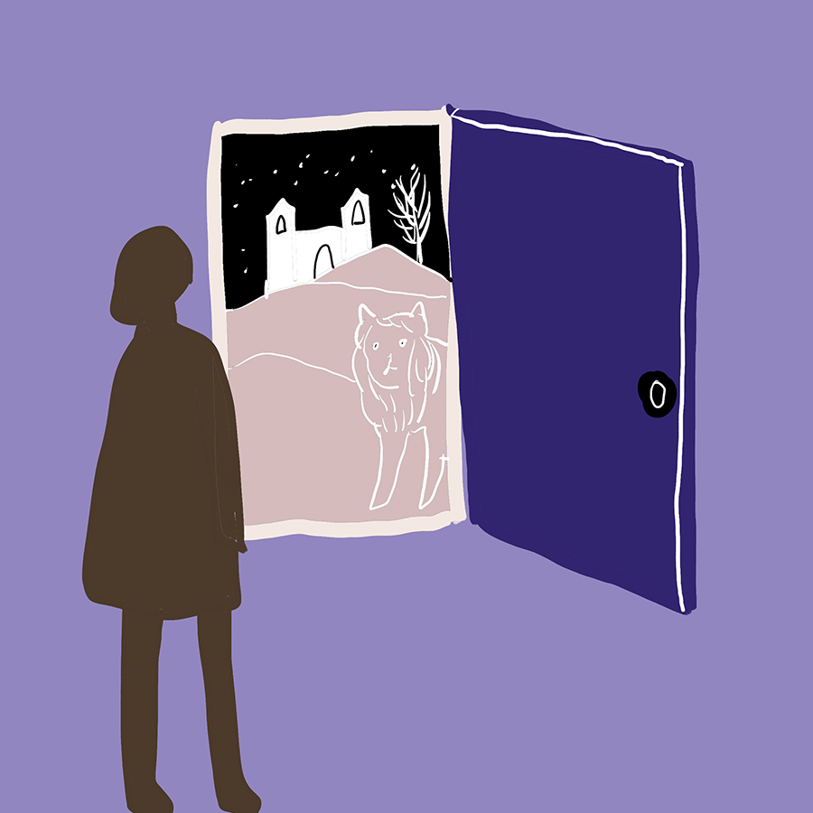 illustration of an open wardrobe door with a castle and lion visible in through the door and an outline of a young girl standing on the opposite side of the door