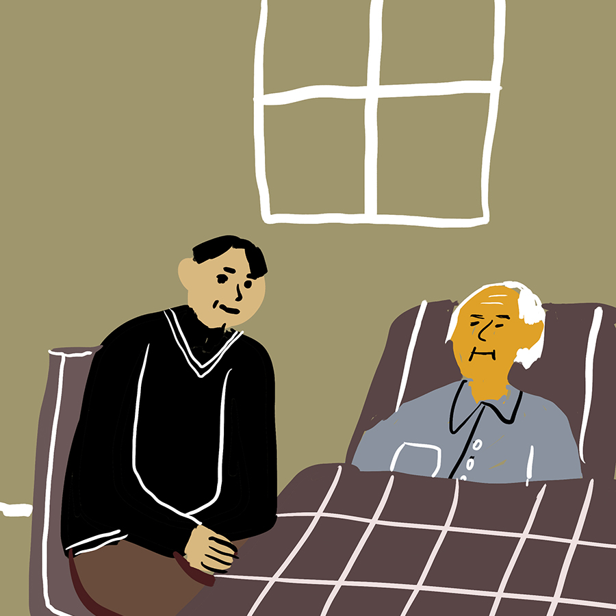 illustration of author Mitch Albom sitting next to Morrie Schwartz, who is lying in a bed