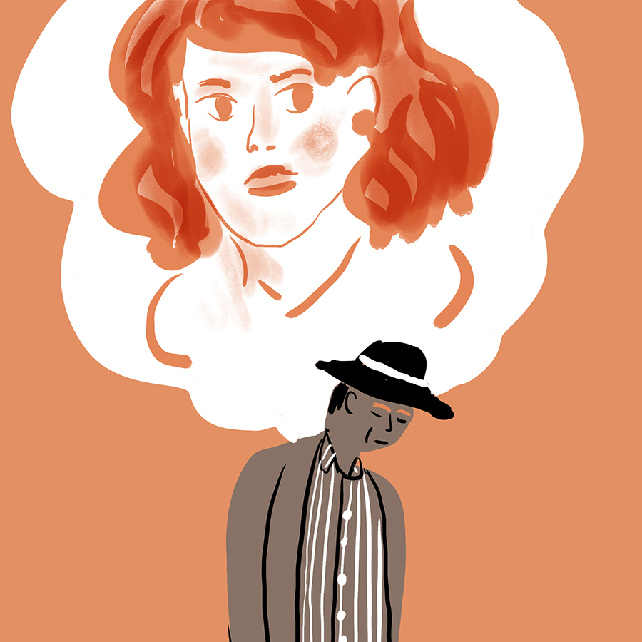 illustration of Dexter Green walking and thinking of Judy, as shown by a thought bubble