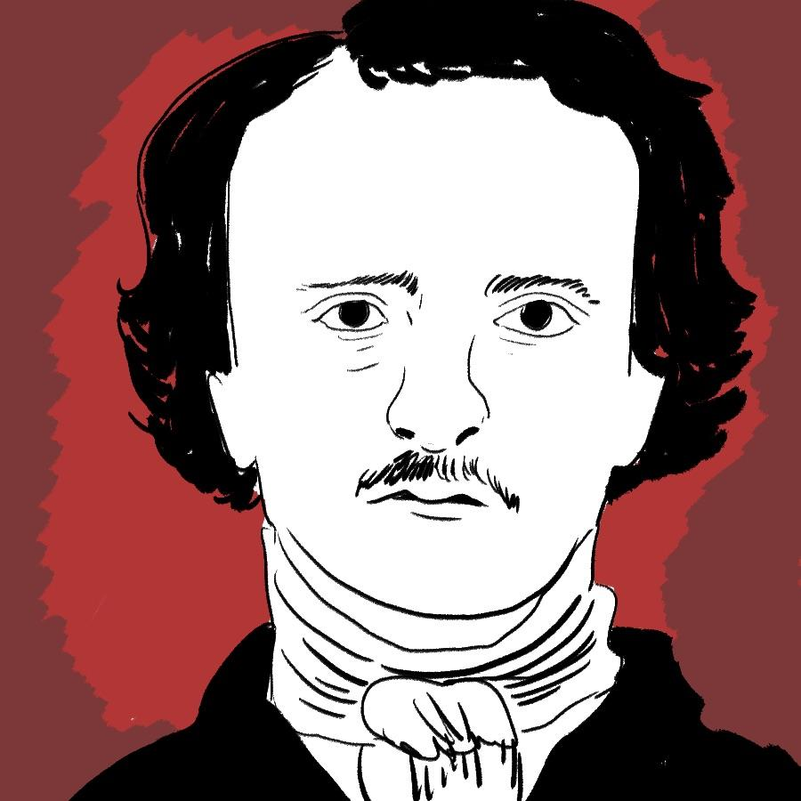 illustrated portrait of American author of gothic fiction Edgar Allan Poe