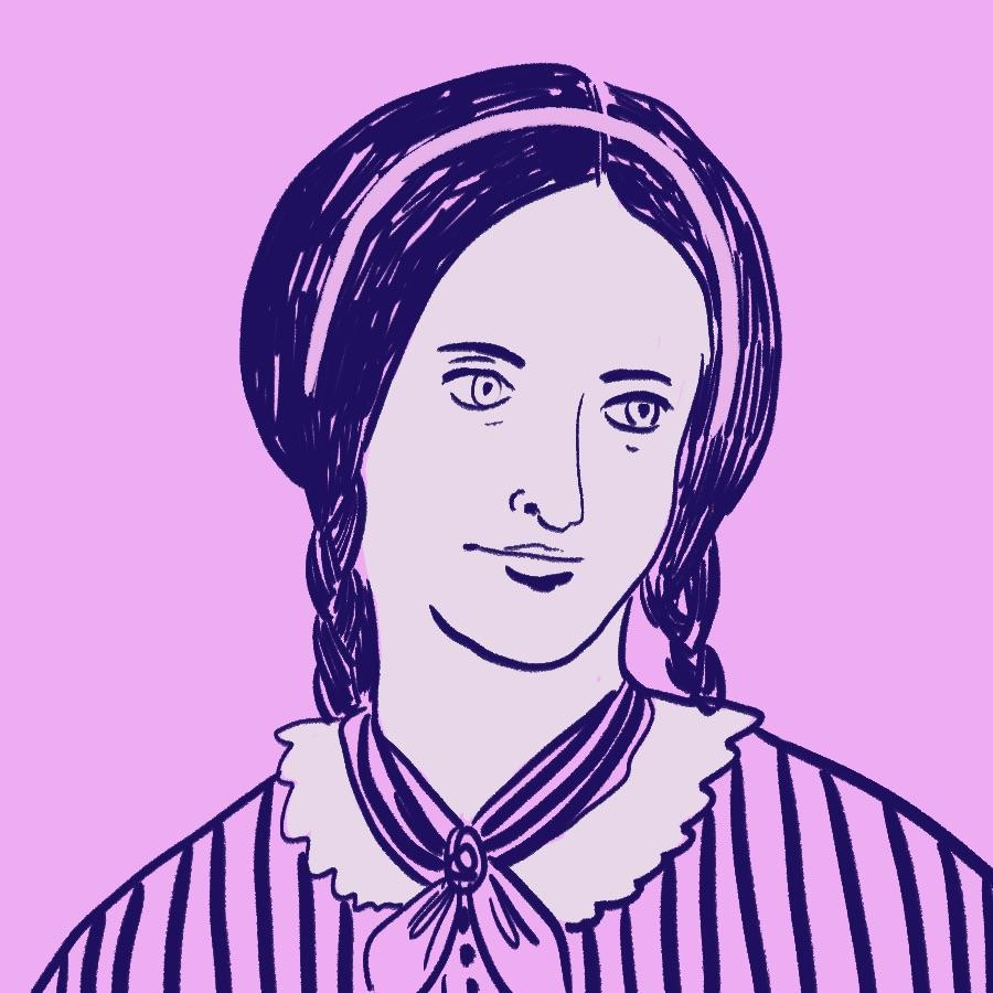 illustrated portrait of English author Emily Brontë
