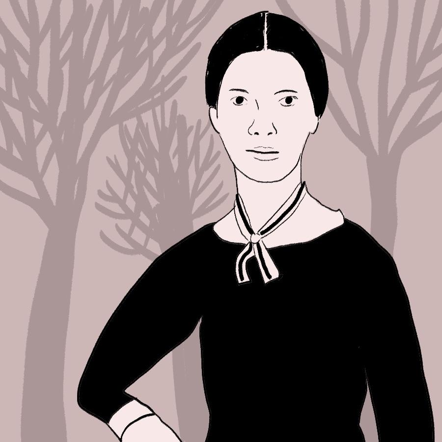 illustrated portrait of English poet Emily Dickinson