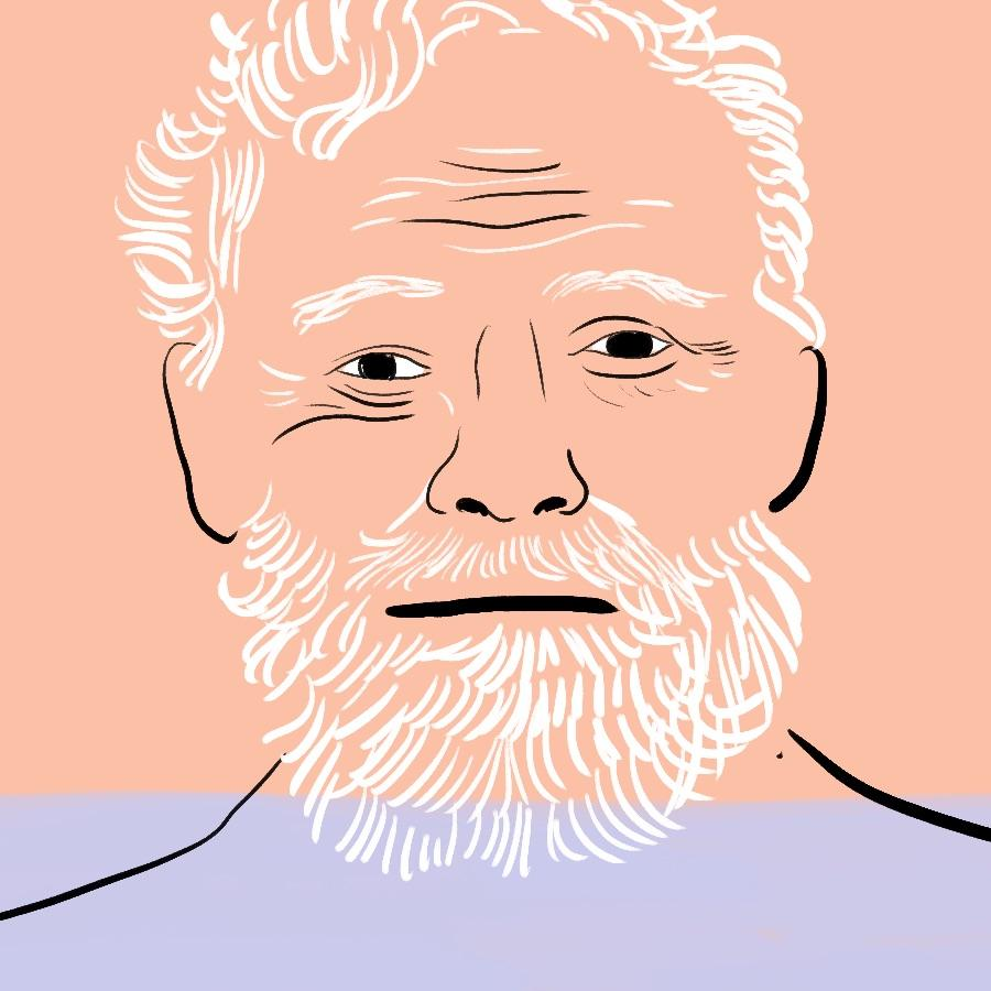 illustrated portrait of American author Ernest Hemingway
