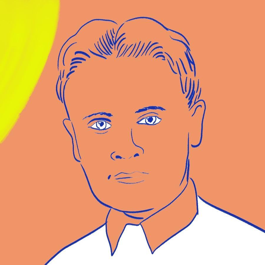 illustrated portrait of American author F. Scott Fitzgerald