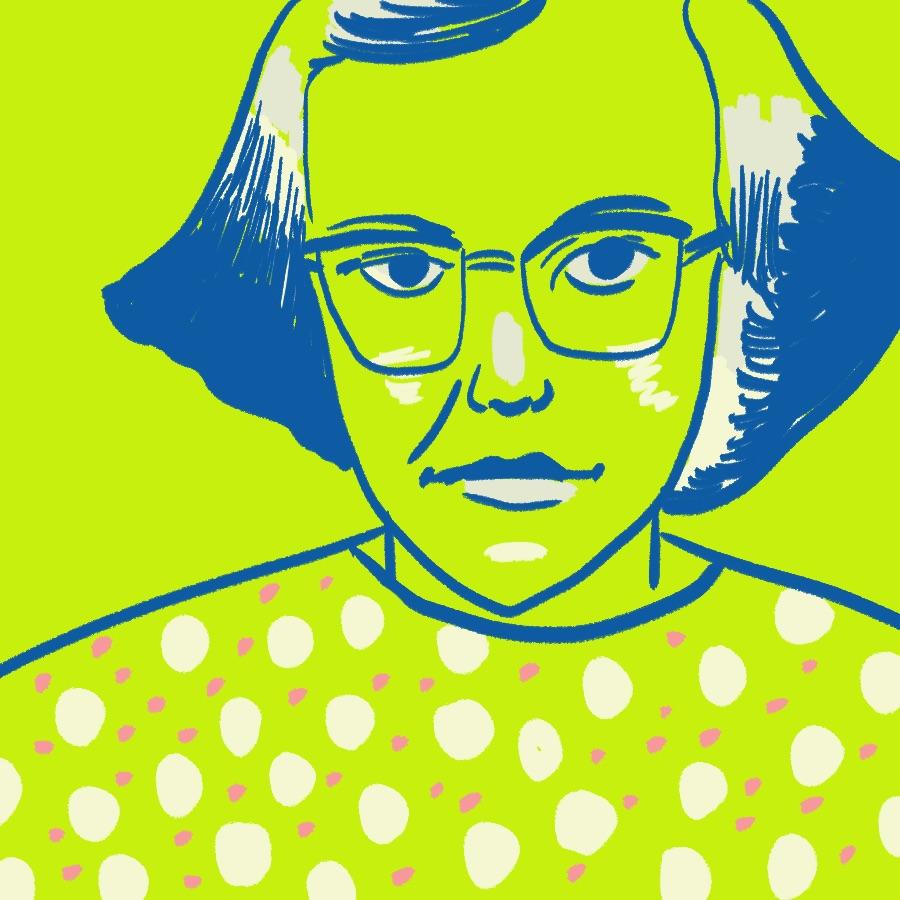 illustrated portrait of American author Flannery O'Connor