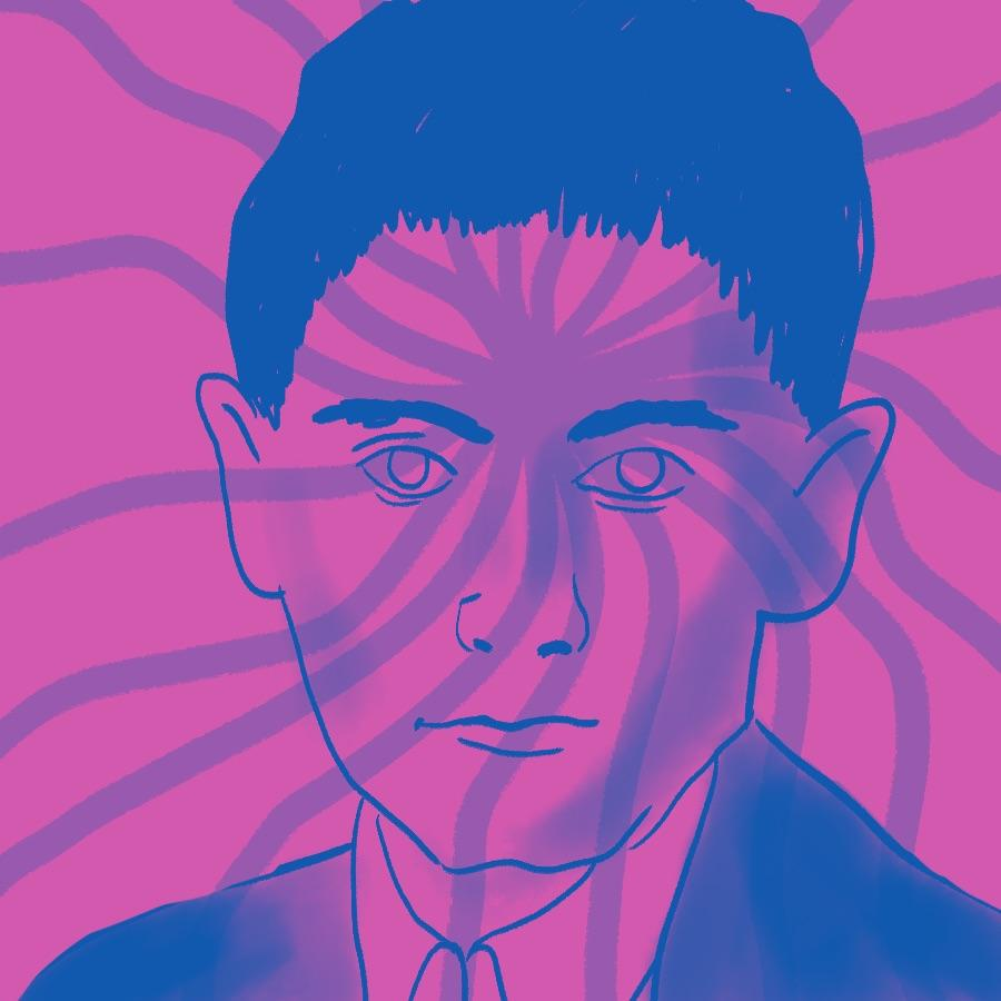 illustrated portrait of Bohemian author Franz Kafka