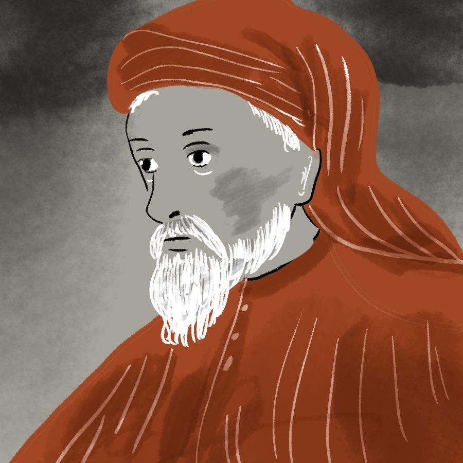illustrated portrait of English poet and author Geoffrey Chaucer