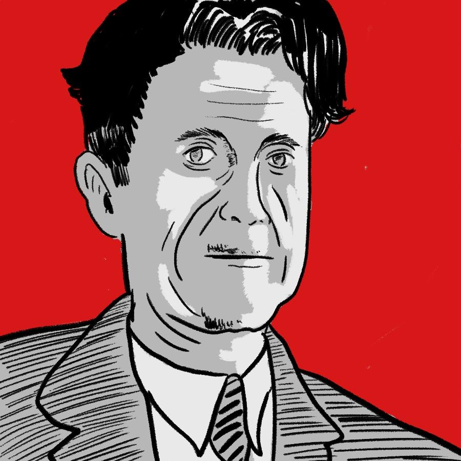 illustrated portrait of English author George Orwell