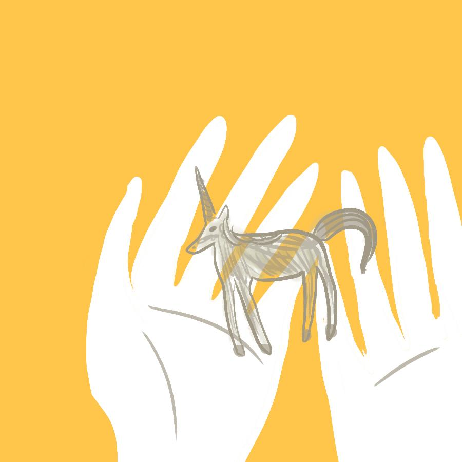 Symbolic illustration of Laura's hands holding a glass unicorn