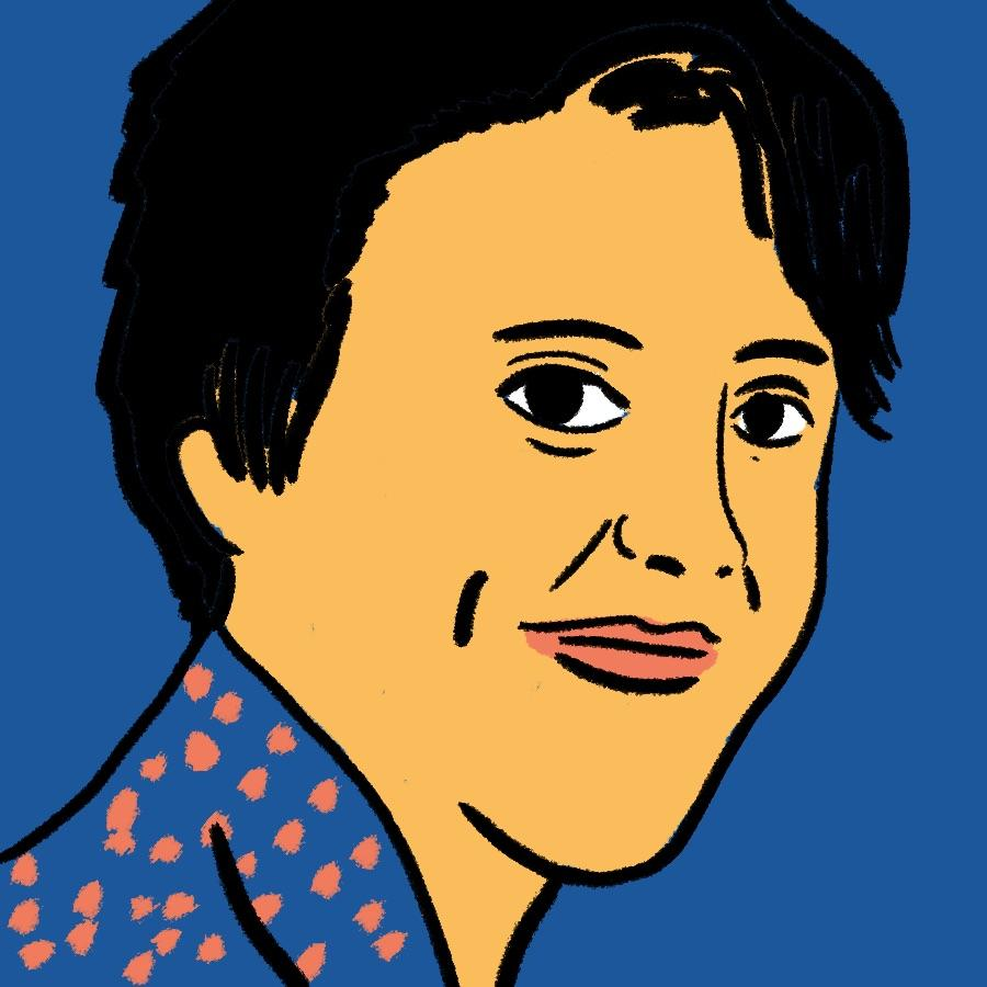 illustrated portrait of American author Harper Lee