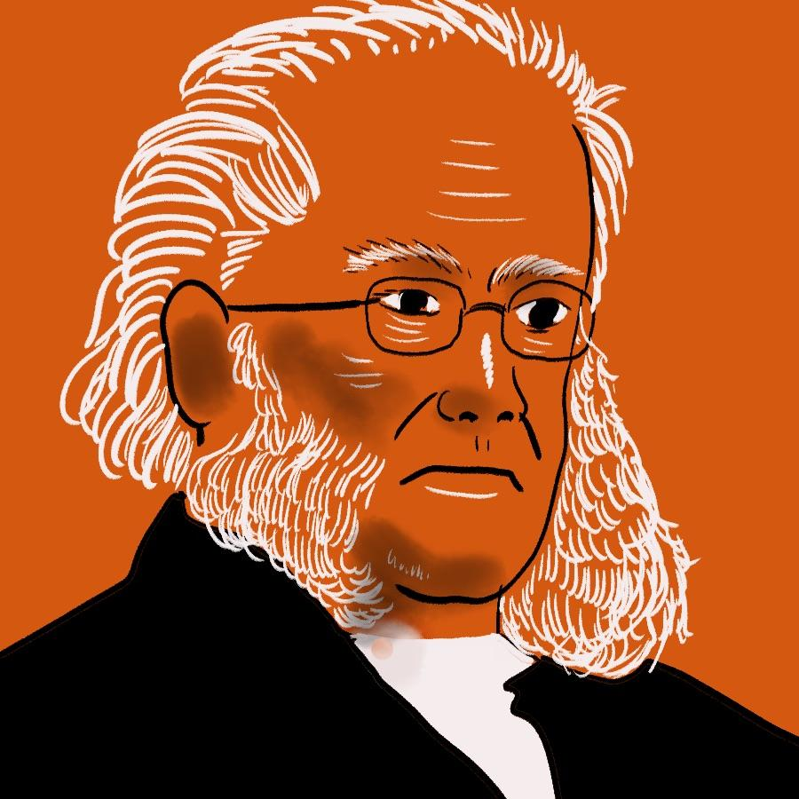illustrated portrait of Norwegian playwright Henrik Ibsen