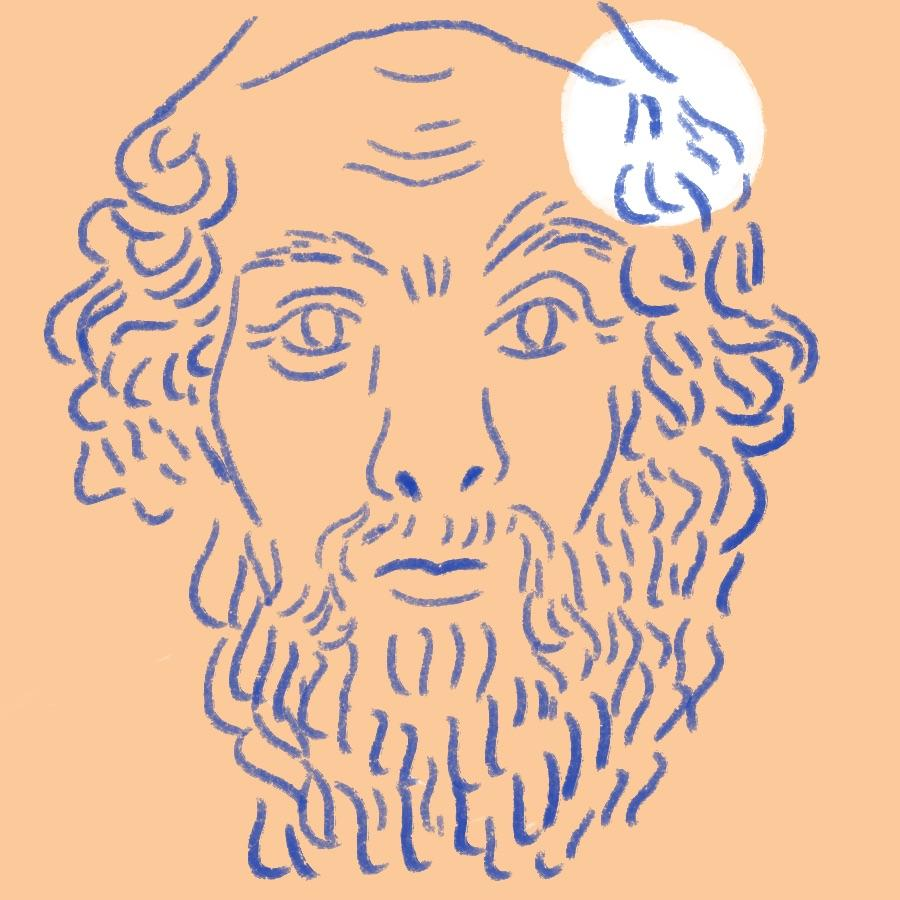 illustrated portrait of ancient Greek poet Homer