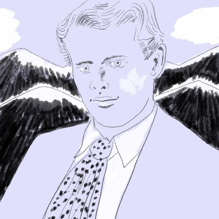 illustrated portrait of American author Jack London with mountains in the background