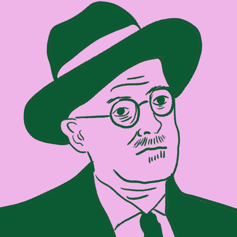 illustrated portrait of Irish author James Joyce