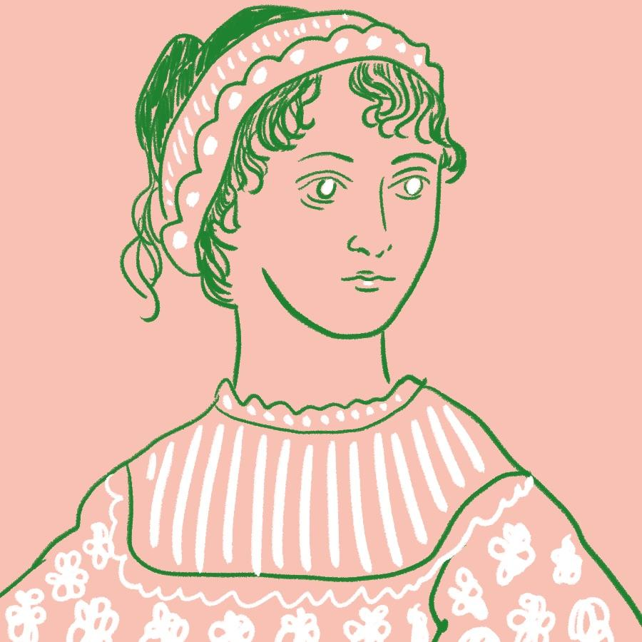 illustrated portrait of English novelist Jane Austen