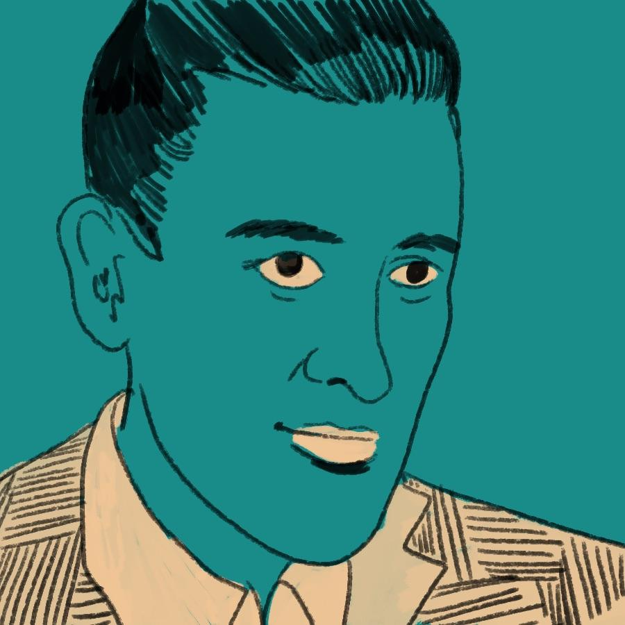 illustrated portrait of American author J. D. Salinger