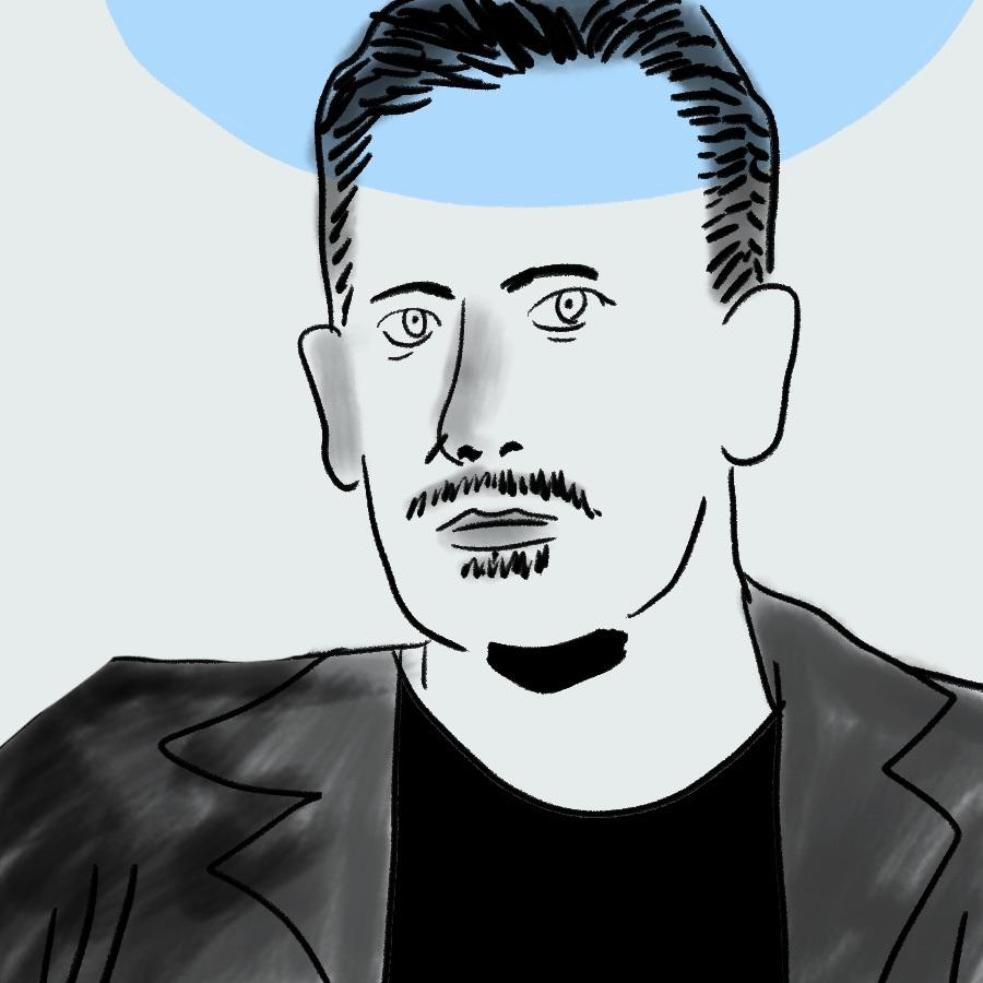 illustrated portrait of American author John Steinbeck