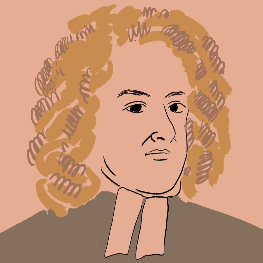 illustrated portrait of Irish author and satirist Jonathan Swift