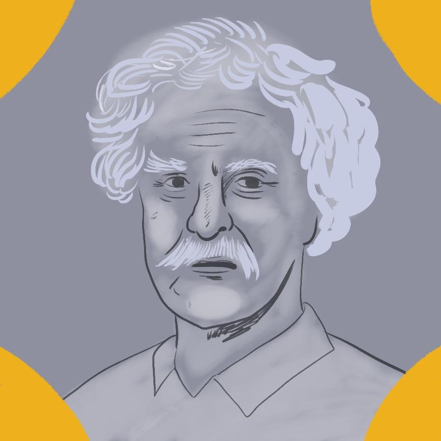 illustrated portrait of American author and satirist Mark Twain