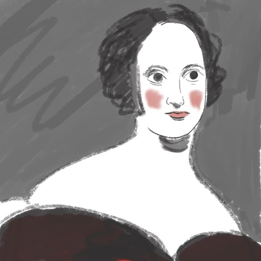 illustrated portrait of English author Mary Shelley