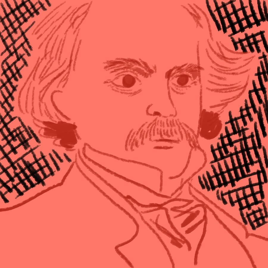 illustrated portrait of American author Nathaniel Hawthorne