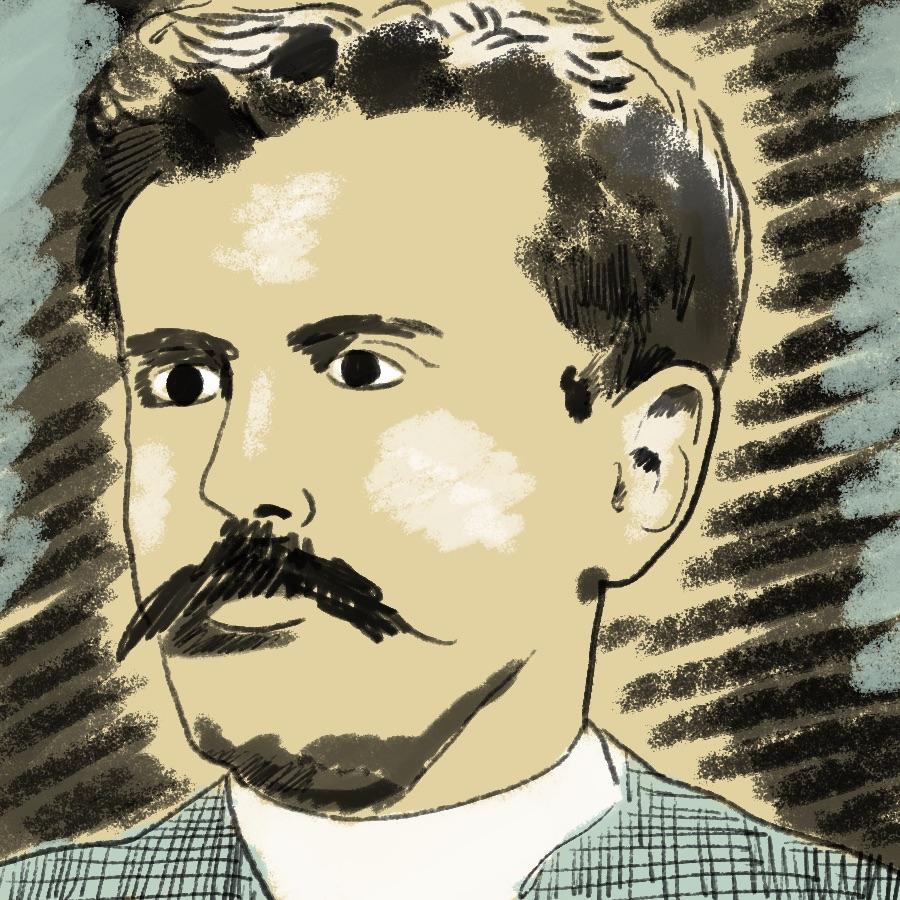 illustrated portrait of American short story writer O. Henry